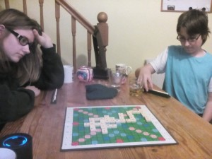 Some rather serious scrabble playing.